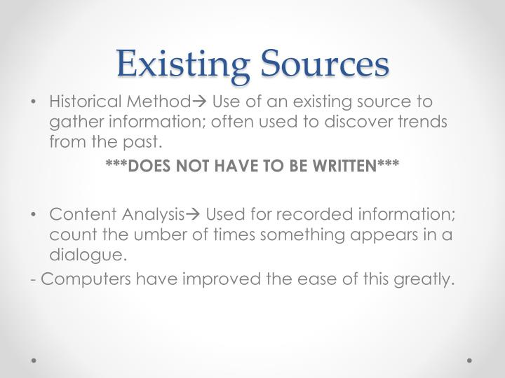Existing Sources