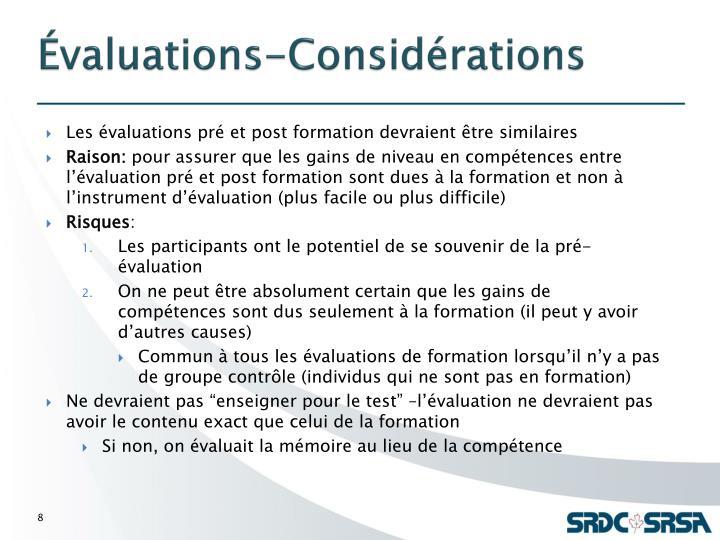Évaluations-Considérations