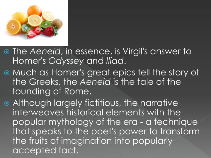 aeneid vs odyssey In the aeneid and the odyssey, aeneas and odysseus both undergo a parallel journey with the ultimate purpose of returning (in  aeneas' case establishing) home however, throughout their journeys the actions of the two heroes are vastly different.