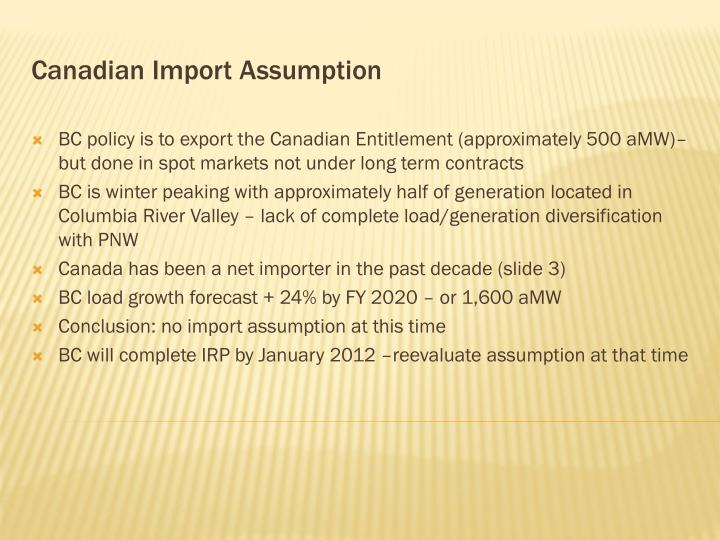 Canadian import assumption