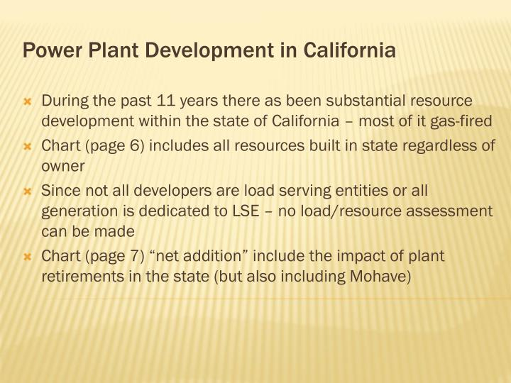 Power Plant Development in California
