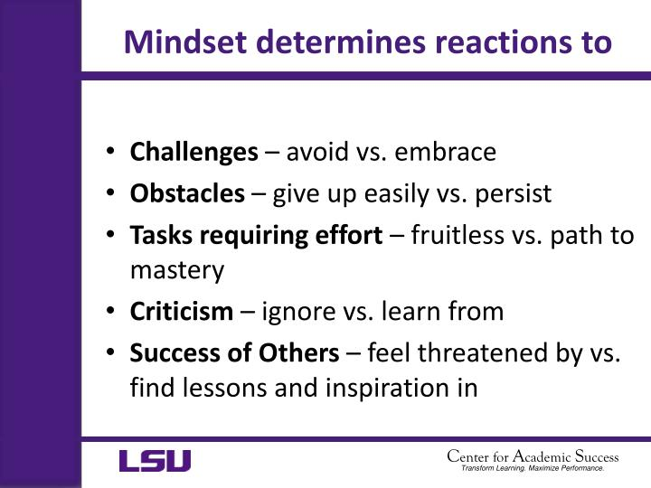 Mindset determines reactions to