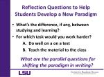 reflection questions to help students develop a new paradigm