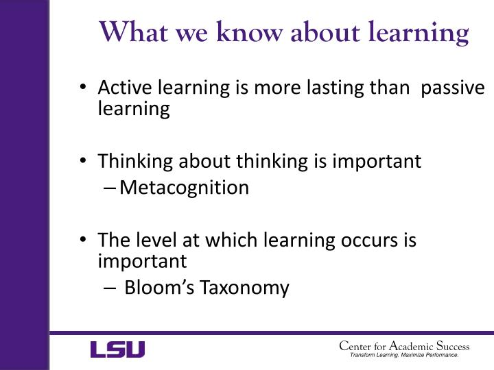 What we know about learning