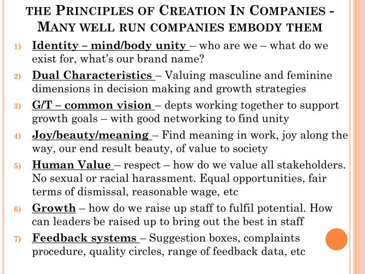 the Principles of Creation In