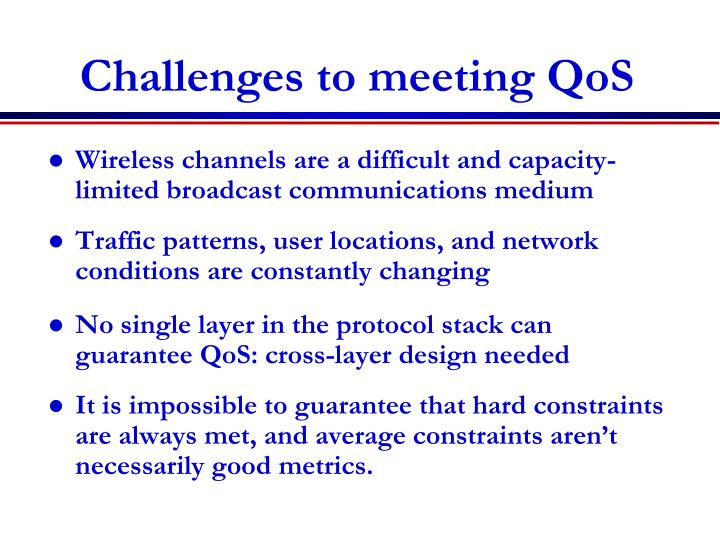 Challenges to meeting QoS