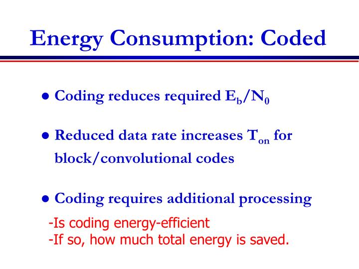 Energy Consumption: Coded