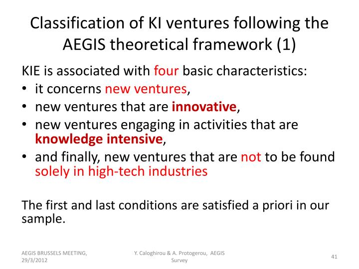 Classification of KI ventures following the AEGIS theoretical framework (1)