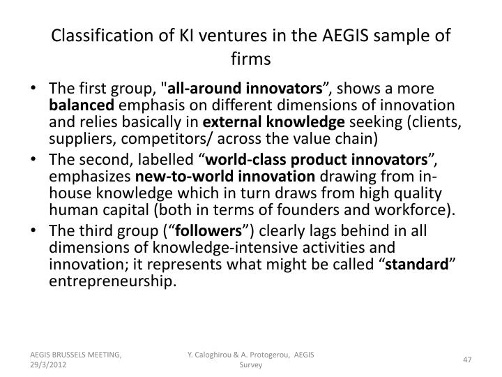 Classification of KI ventures in the AEGIS sample of firms