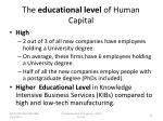 the educational level of human capital