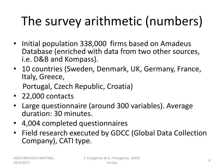 The survey arithmetic (numbers)