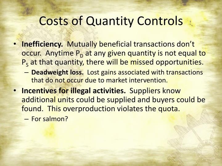 Costs of Quantity Controls