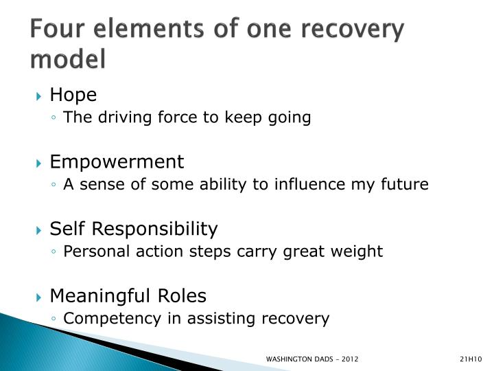 Four elements of one recovery model