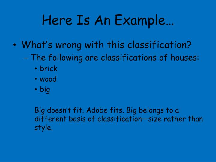 example of classification essay