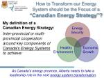 how to transform our energy system should be the focus of a canadian energy strategy