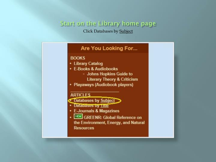 Start on the library home page