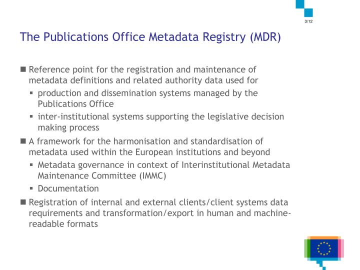 The Publications Office Metadata Registry (MDR)