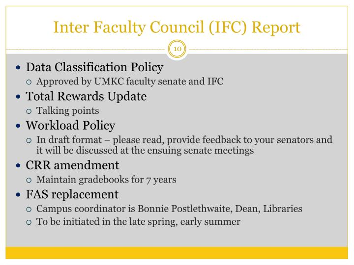 Inter Faculty Council (IFC) Report