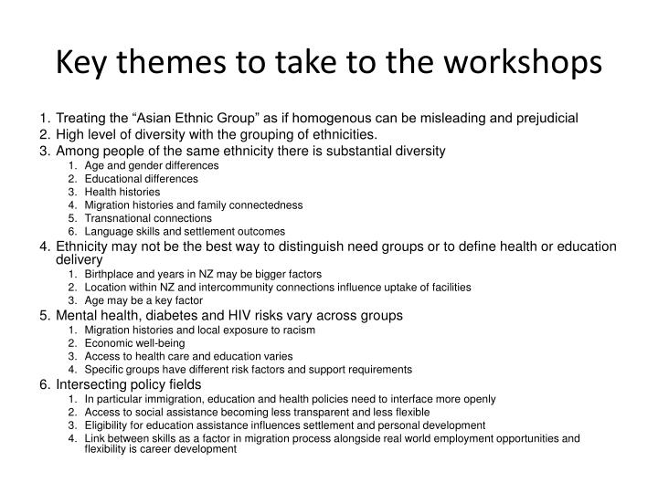 Key themes to take to the workshops