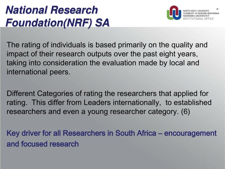 National Research Foundation(NRF) SA