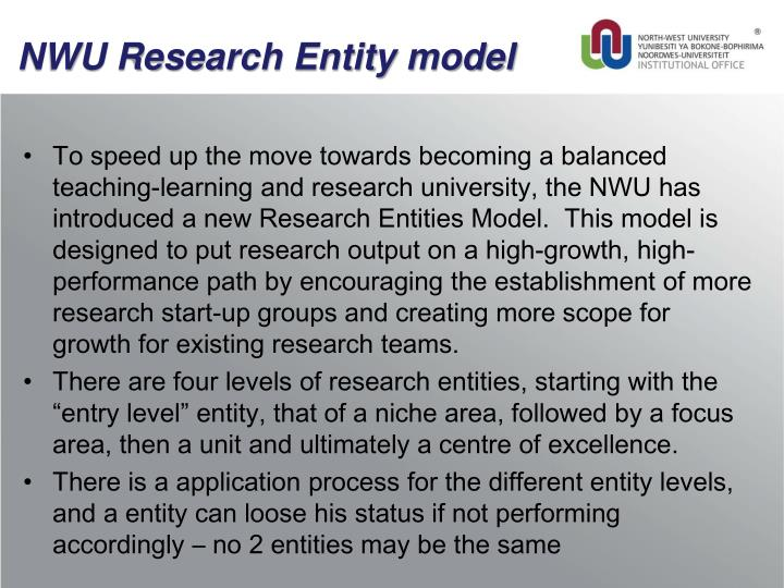 NWU Research Entity model