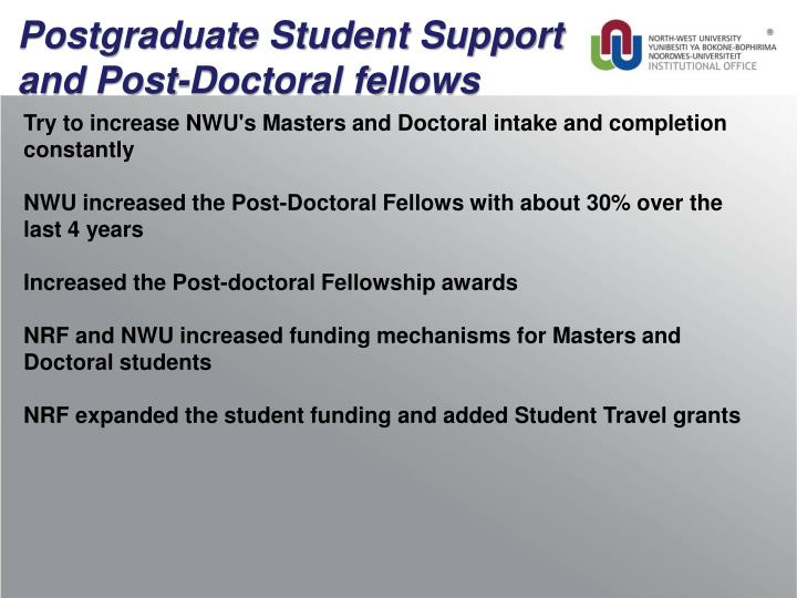 Postgraduate Student Support and Post-Doctoral fellows