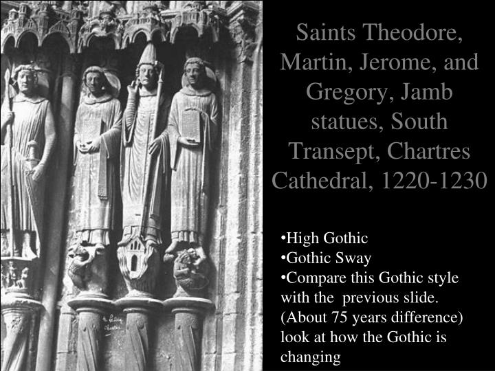Saints Theodore, Martin, Jerome, and Gregory, Jamb statues, South Transept, Chartres Cathedral, 1220-1230
