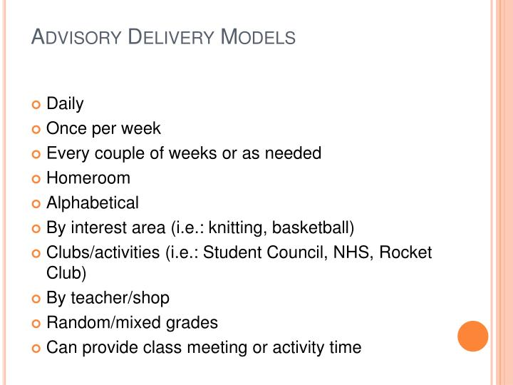 Advisory Delivery Models