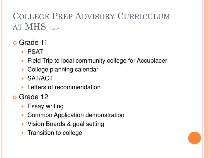 College Prep Advisory Curriculum at MHS