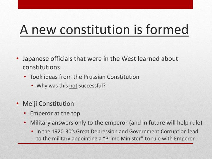 Japanese officials that were in the West learned about constitutions
