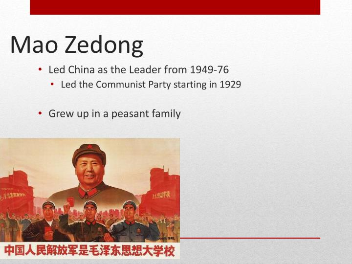 Led China as the Leader from 1949-76