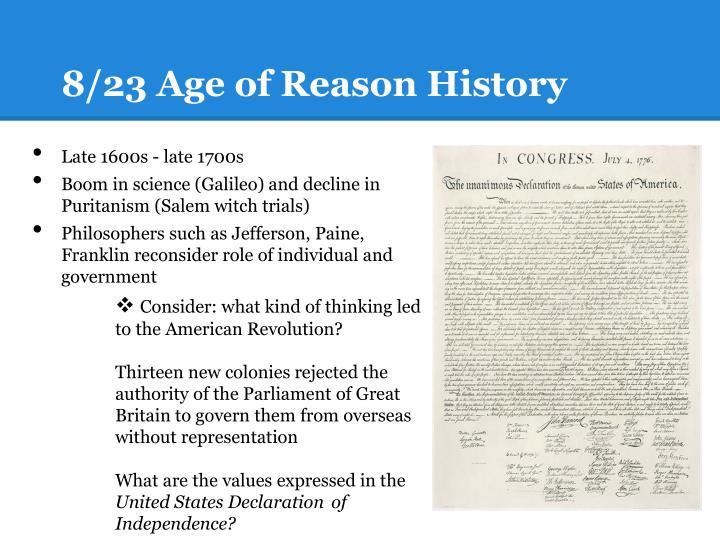 8/23 Age of Reason History