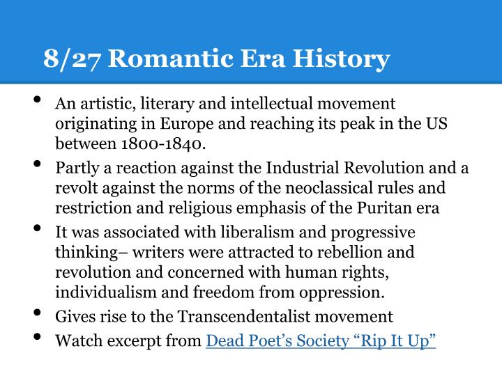 8/27 Romantic Era History