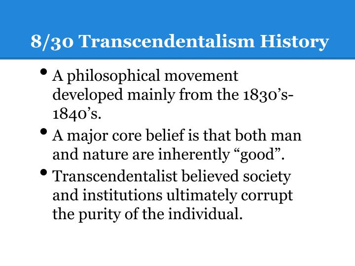 8/30 Transcendentalism