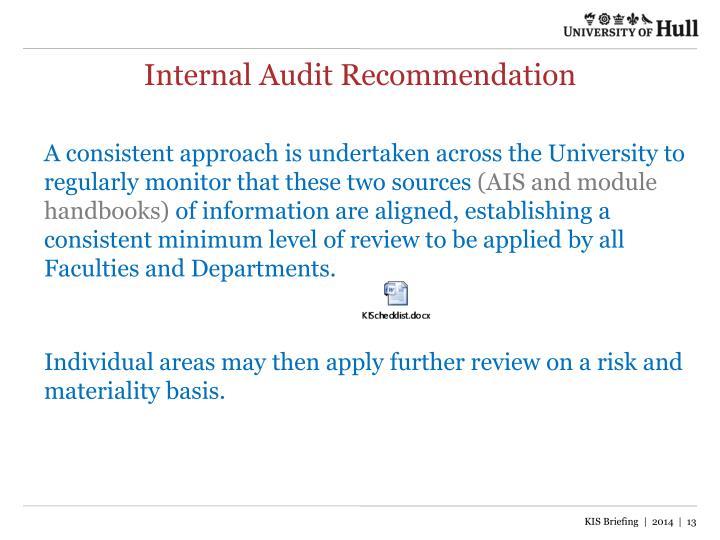 Internal Audit Recommendation