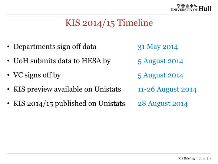 KIS 2014/15 Timeline