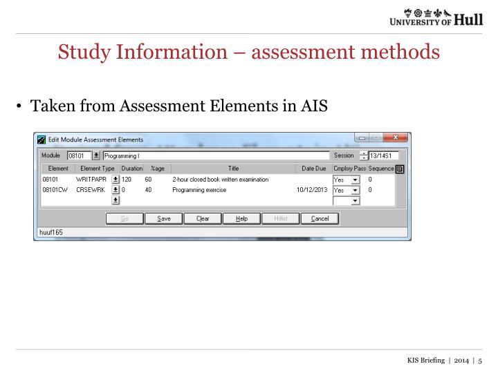 Study Information – assessment methods