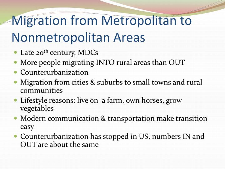 Migration from Metropolitan to Nonmetropolitan Areas