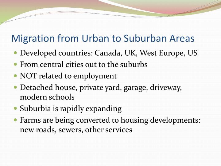 Migration from Urban to Suburban Areas