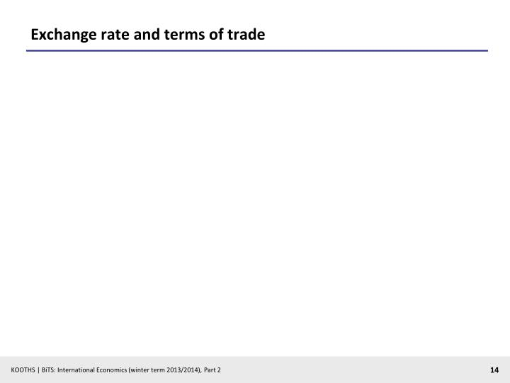 Exchange rate and terms of