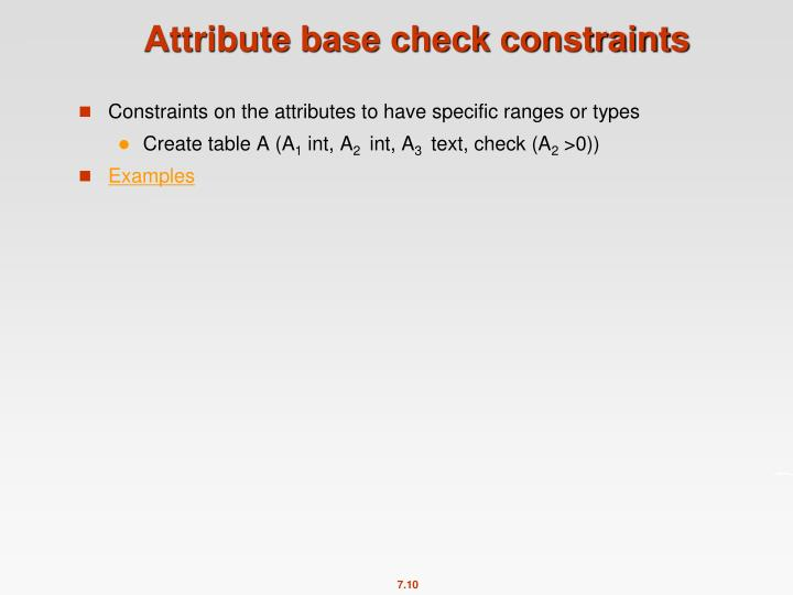 Attribute base check constraints