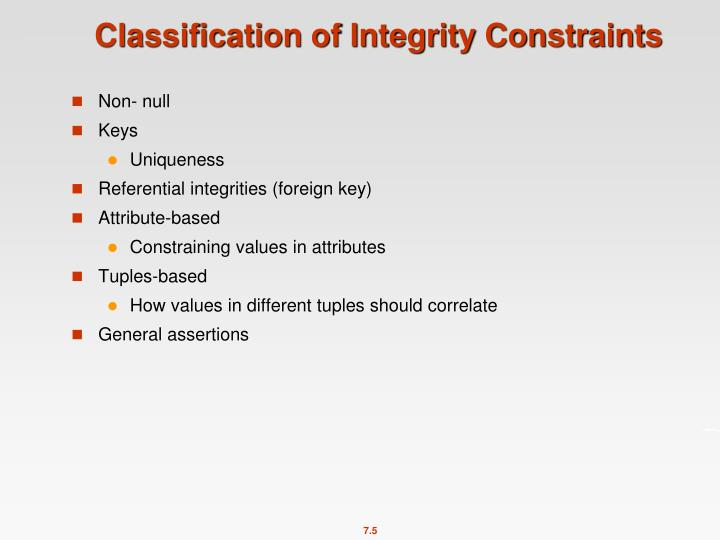 Classification of Integrity Constraints