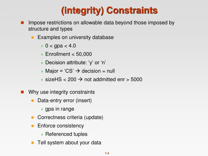 (integrity) Constraints