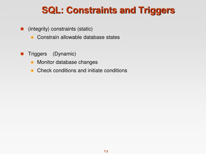 SQL: Constraints and Triggers
