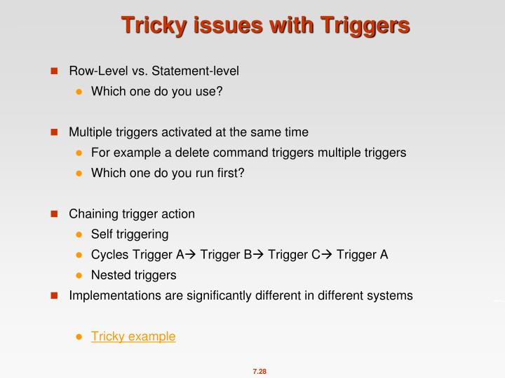 Tricky issues with Triggers