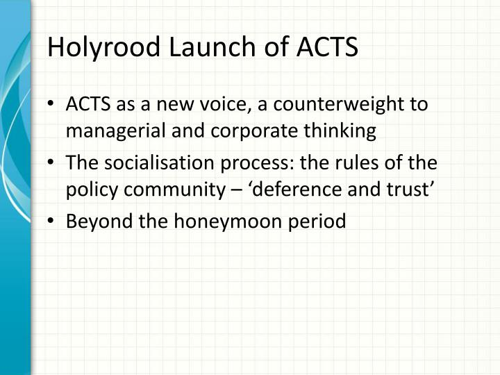 Holyrood launch of acts