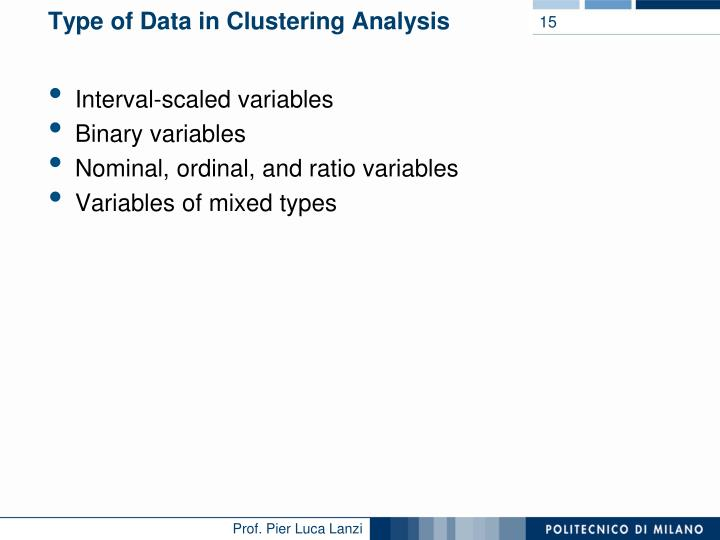 Type of Data in Clustering Analysis