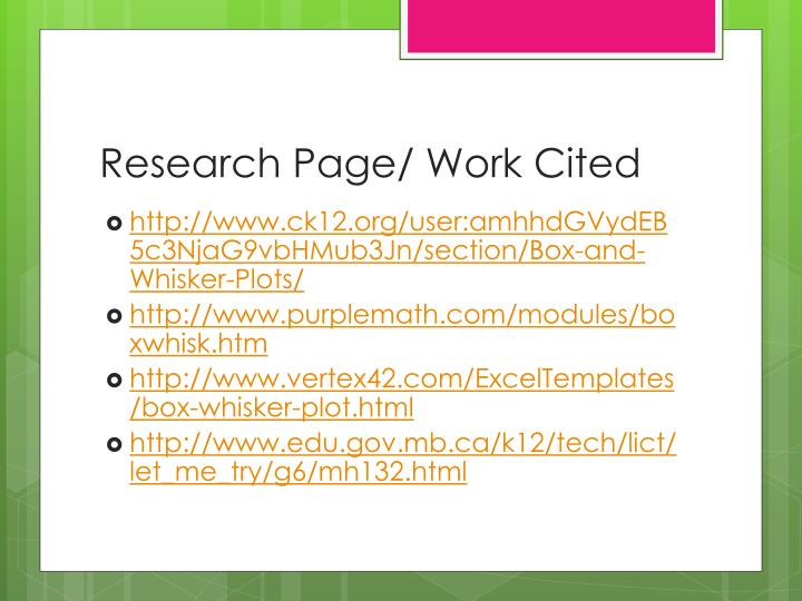 Research Page/ Work Cited