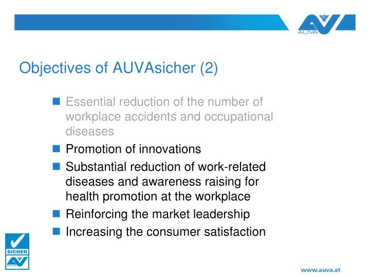 Objectives of AUVAsicher (2)