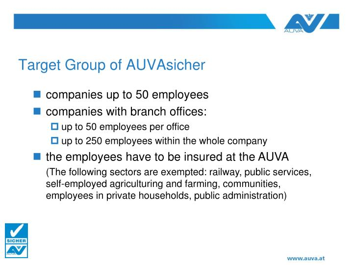 Target Group of AUVAsicher